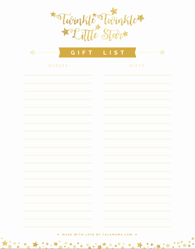 Baby Shower Gift Log Beautiful Free Printable Gift Tracker for Any Occasion Tulamama