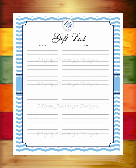 Baby Shower Gift Log Best Of Baby Shower Gift List Baby Gift List Record Blue and