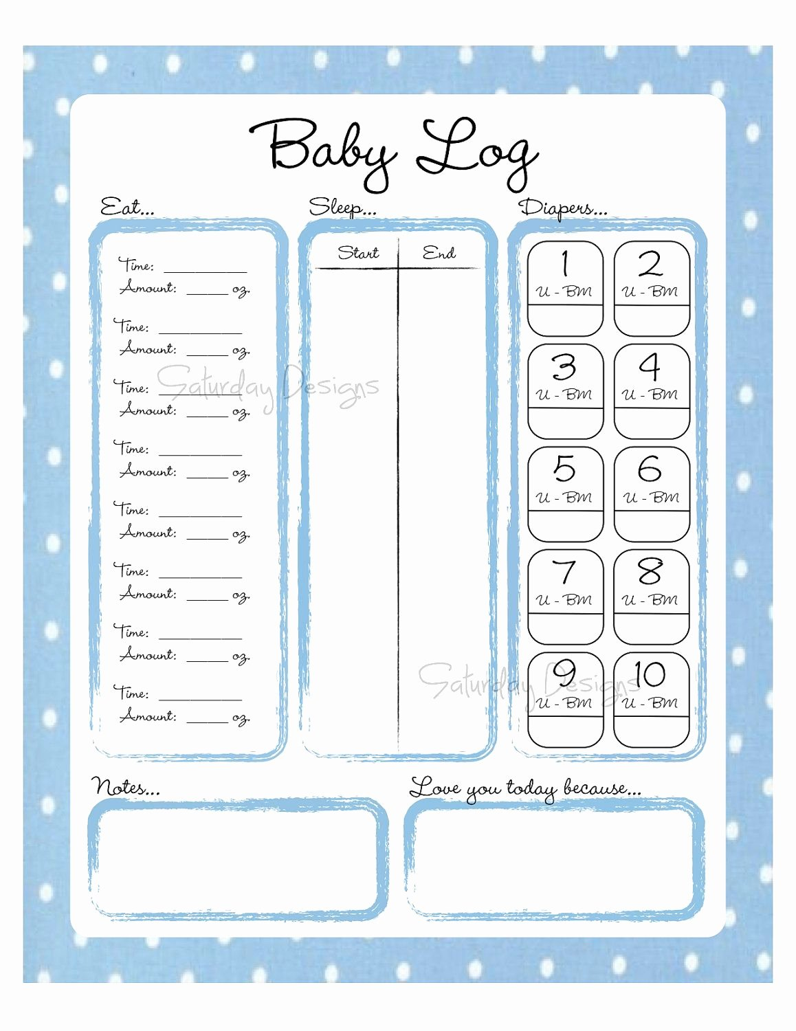 Baby Shower Gift Log Elegant Printable Daily Log for Baby Feeding Diaper by
