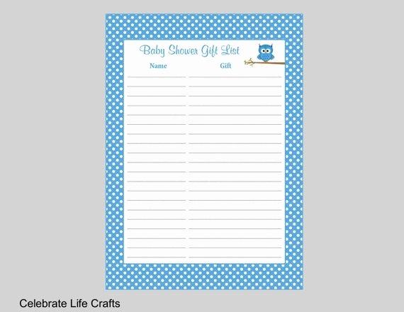 Baby Shower Gift Log Luxury Owl Baby Shower Gift List Printable Baby Shower Gift