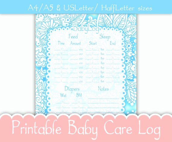 Baby Shower Gift Log New Printable Baby Daily Babysitter Nanny Log Feeding