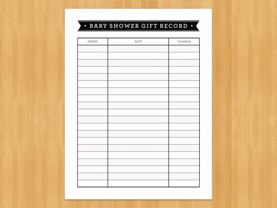 Baby Shower Gift Log New Printable Baby Shower Gift Record List List Of Gifts