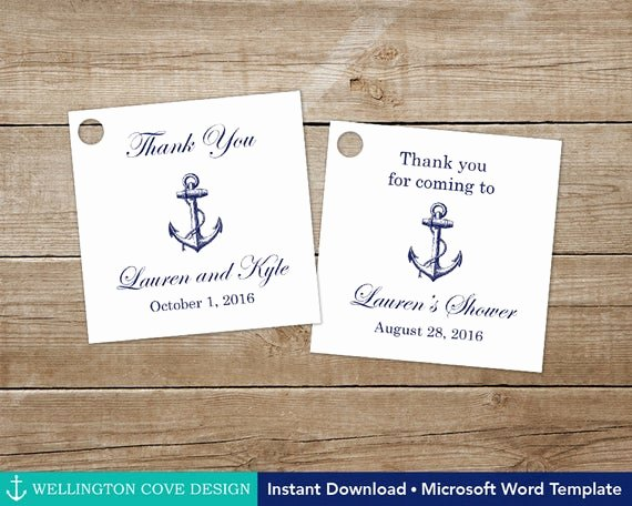 Baby Shower Gift Tag Template Inspirational Printable Nautical Favor Tags Editable Template for