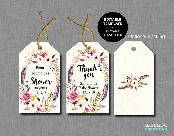 Baby Shower Gift Tag Template Lovely Boho Editable Baby Shower Favor Tags Editable Template From