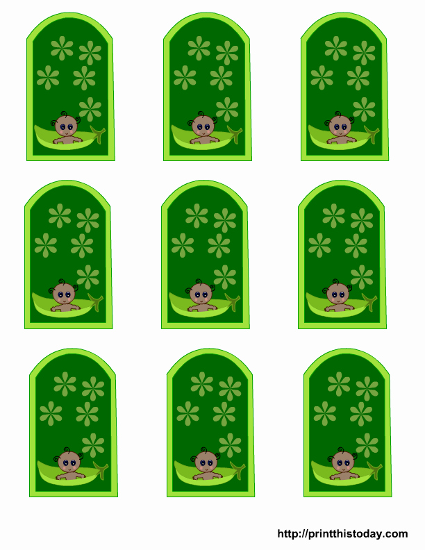 Baby Shower Gift Tag Template Unique Free Pea Pod Baby Shower Favor Tags Templates