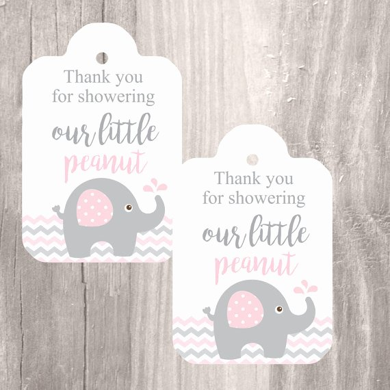 Baby Shower Gift Tags Printable Fresh Printable Elephant Baby Shower Favor Tags Pink and Grey