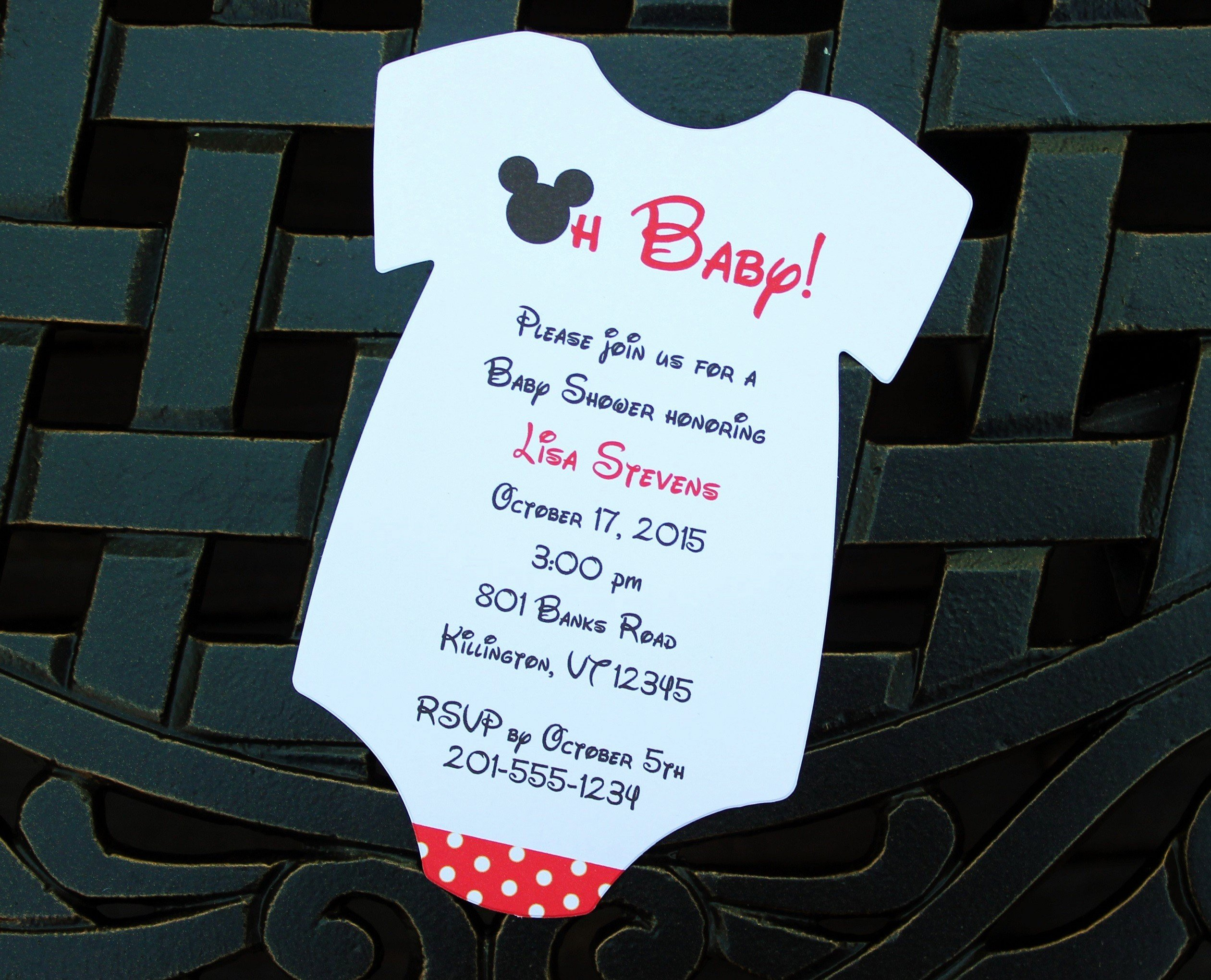 Baby Shower Mickey Mouse Invitations Awesome Mickey Mouse Esie Baby Shower Invitation