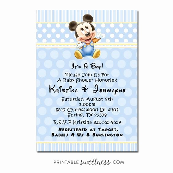 Baby Shower Mickey Mouse Invitations Best Of Mickey Mouse Baby Shower Invitations for Boys Party Xyz