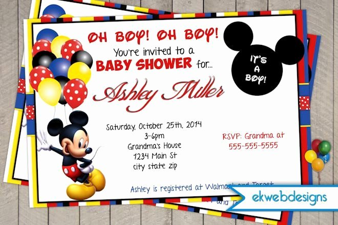 Baby Shower Mickey Mouse Invitations Best Of Mickey Mouse Baby Shower Invitations