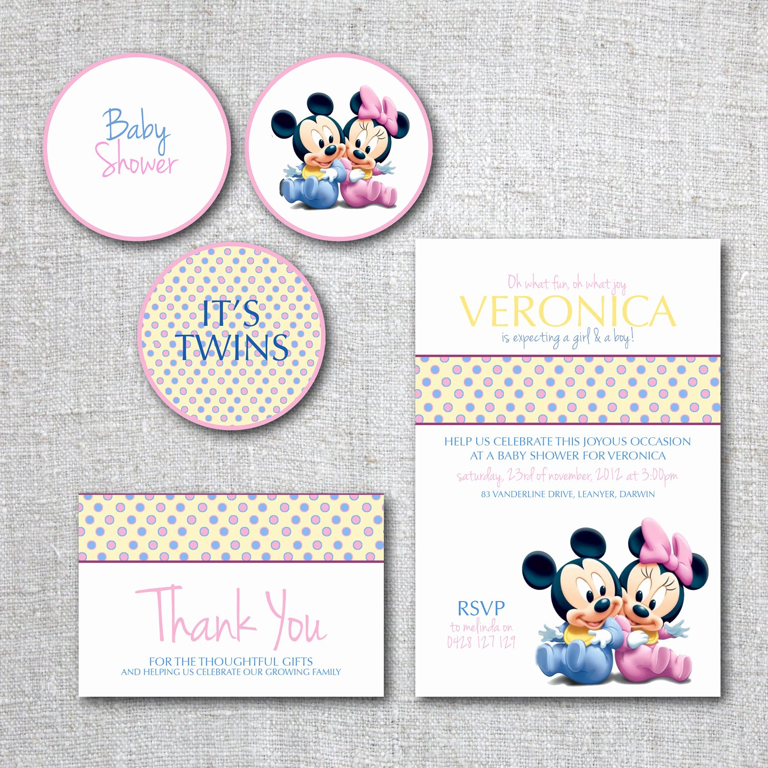 Baby Shower Mickey Mouse Invitations Best Of Twins Baby Shower Invitation Set Mickey Mouse Baby Minnie
