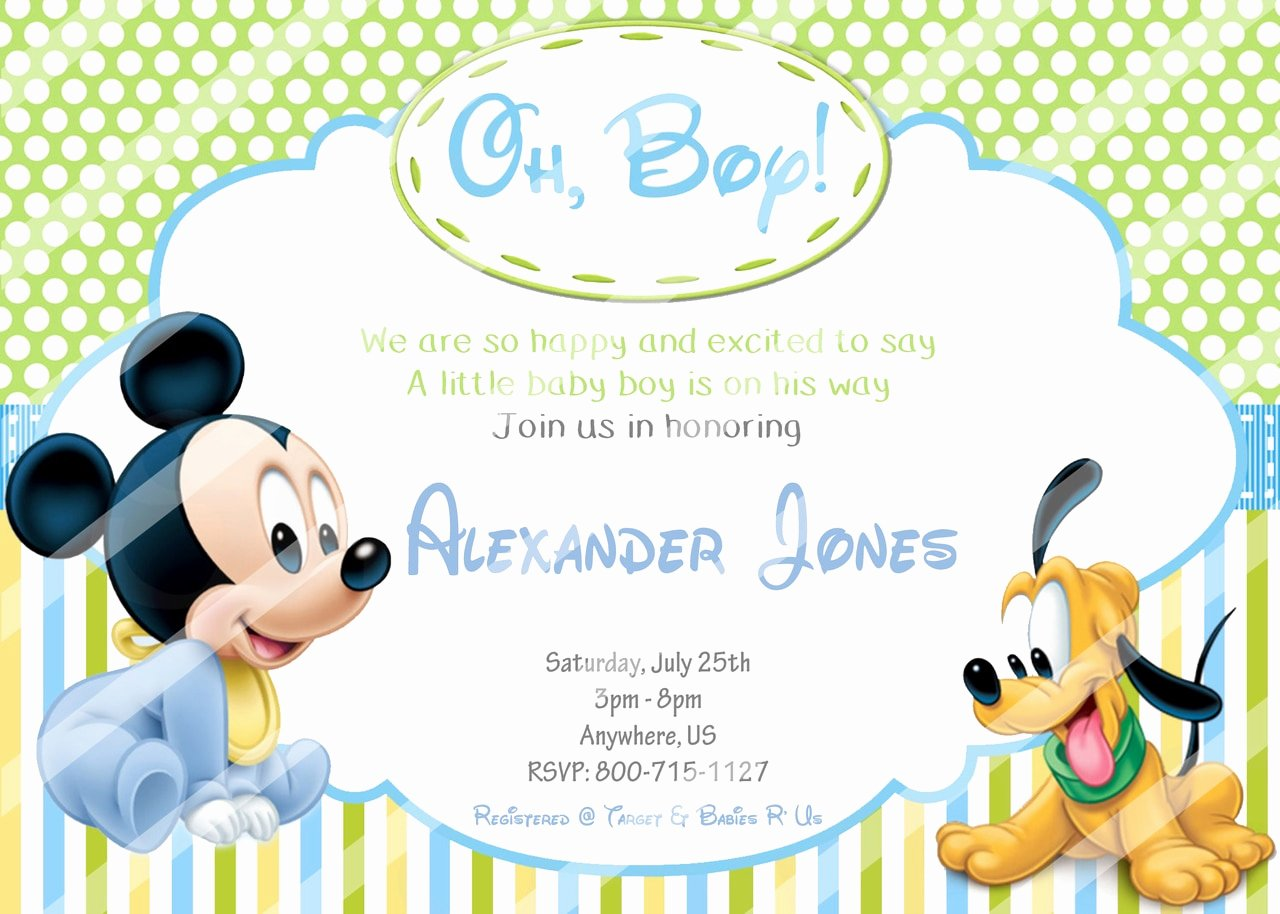 Baby Shower Mickey Mouse Invitations Elegant Baby Mickey Baby Shower Invitations Pluto