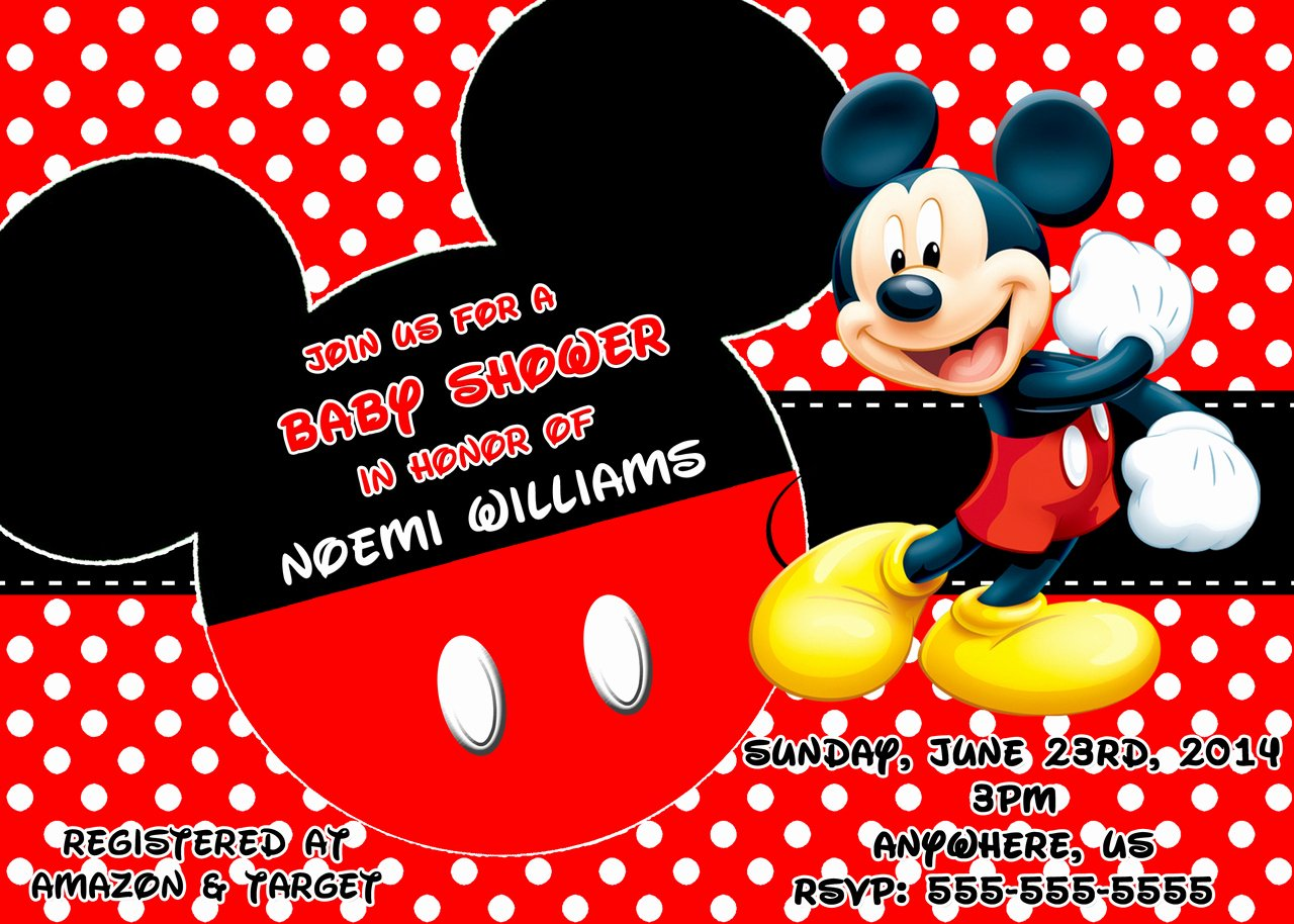 Baby Shower Mickey Mouse Invitations Elegant Mickey Mouse theme Baby Shower Ideas