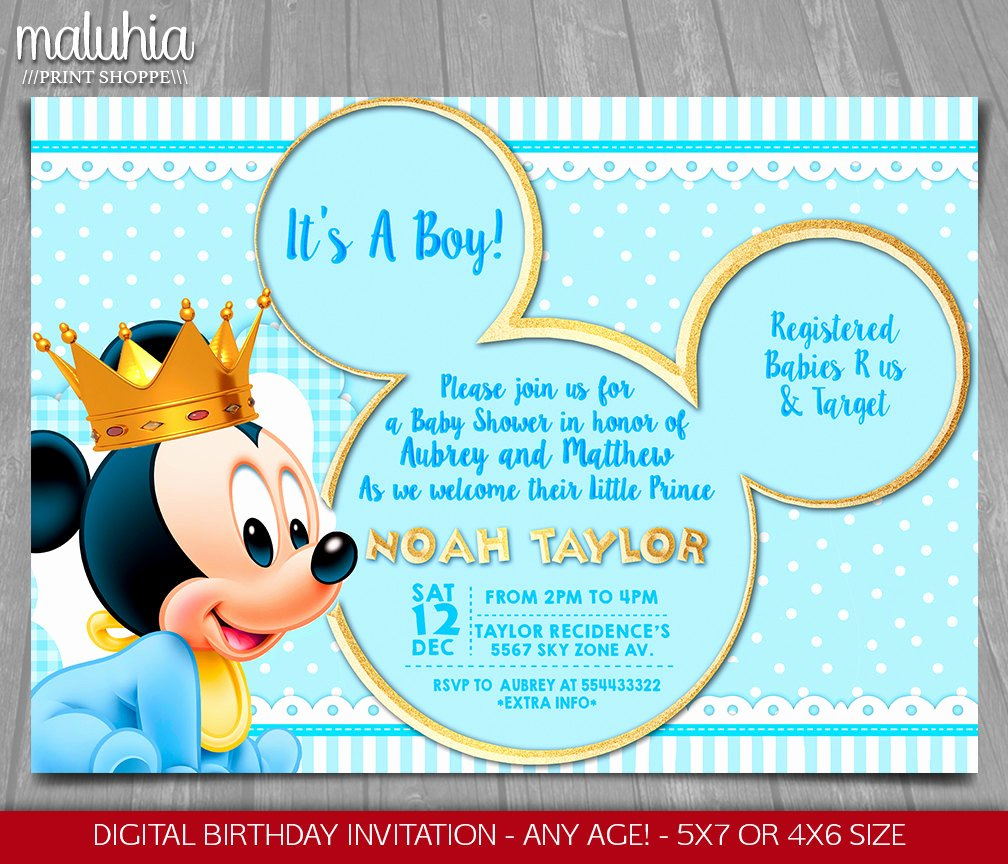 Baby Shower Mickey Mouse Invitations Lovely Baby Mickey Mouse Baby Shower Invitation Baby Prince Mickey