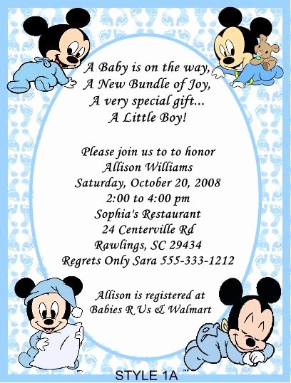 Baby Shower Mickey Mouse Invitations New Mickey Mouse Baby Shower Invitations for Boys Party Xyz