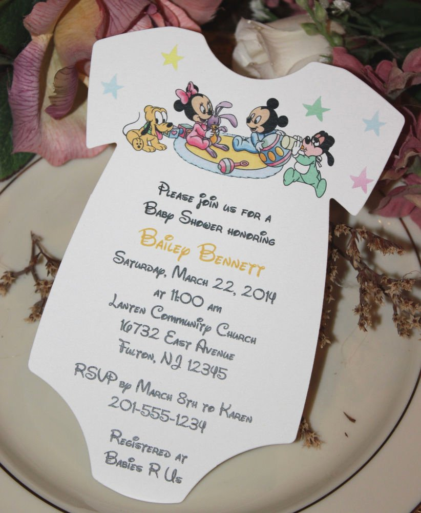 Baby Shower Mickey Mouse Invitations Unique Baby Mickey Mouse & Baby Minnie Mouse & Friends Baby