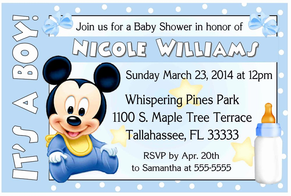 Baby Shower Mickey Mouse Invitations Unique Baby Mickey Shower Invitations