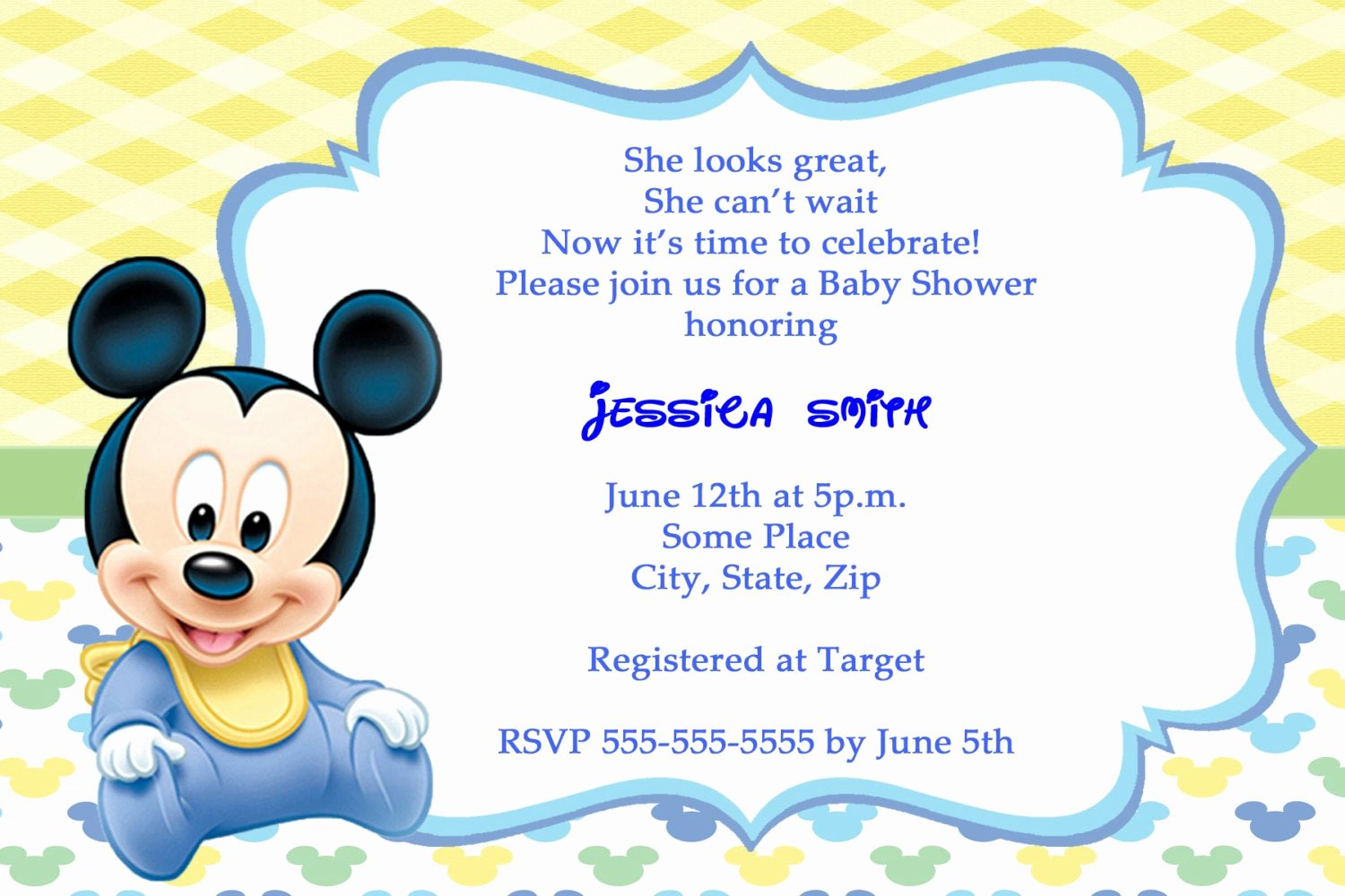Baby Shower Mickey Mouse Invitations Unique Mickey Mouse Baby Shower Invitations Thank You Cards