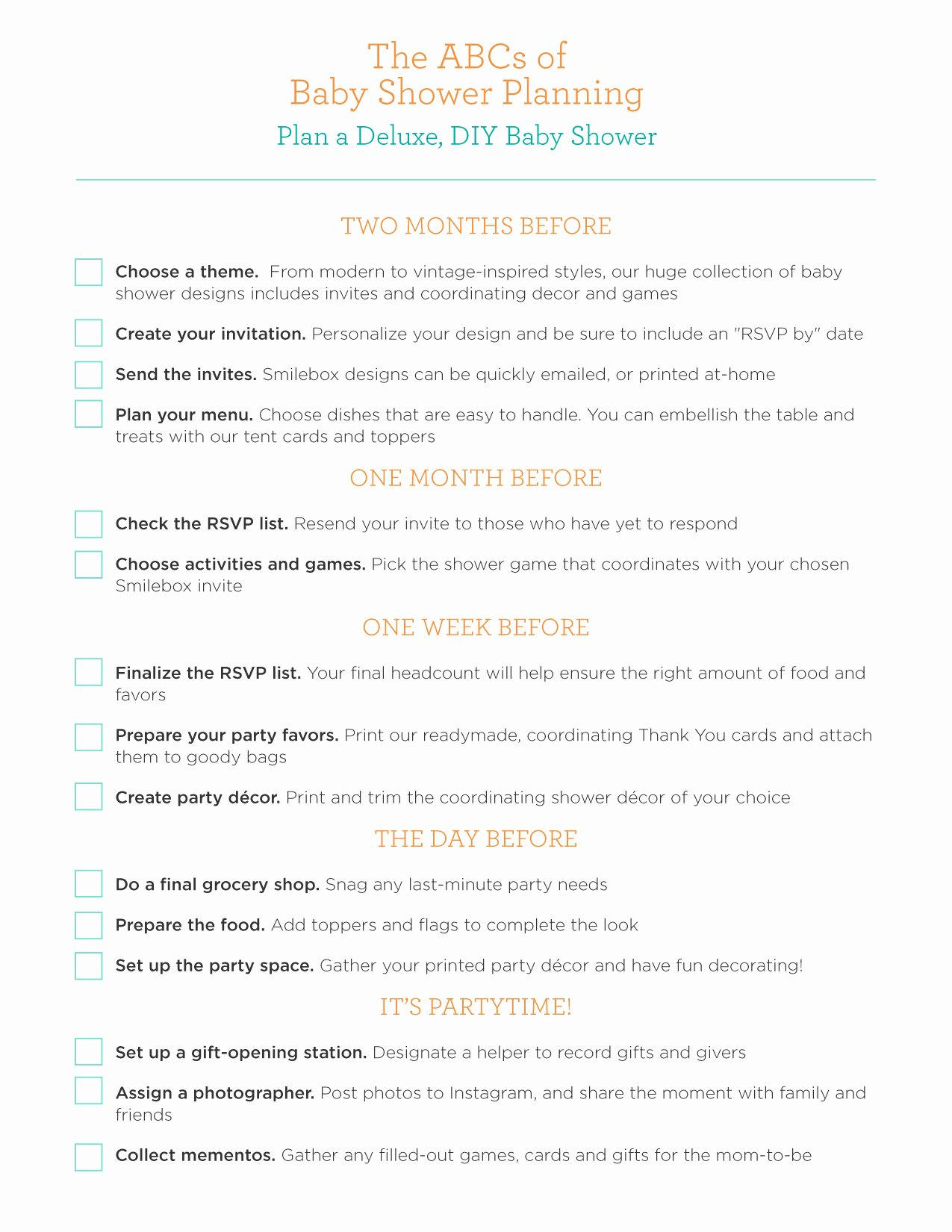 Baby Shower Planning List Awesome 24 Helpful Baby Shower Checklists
