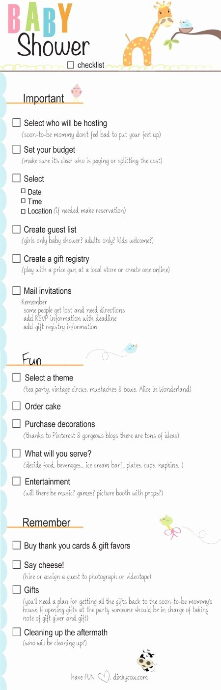 baby shower checklist for party plannin