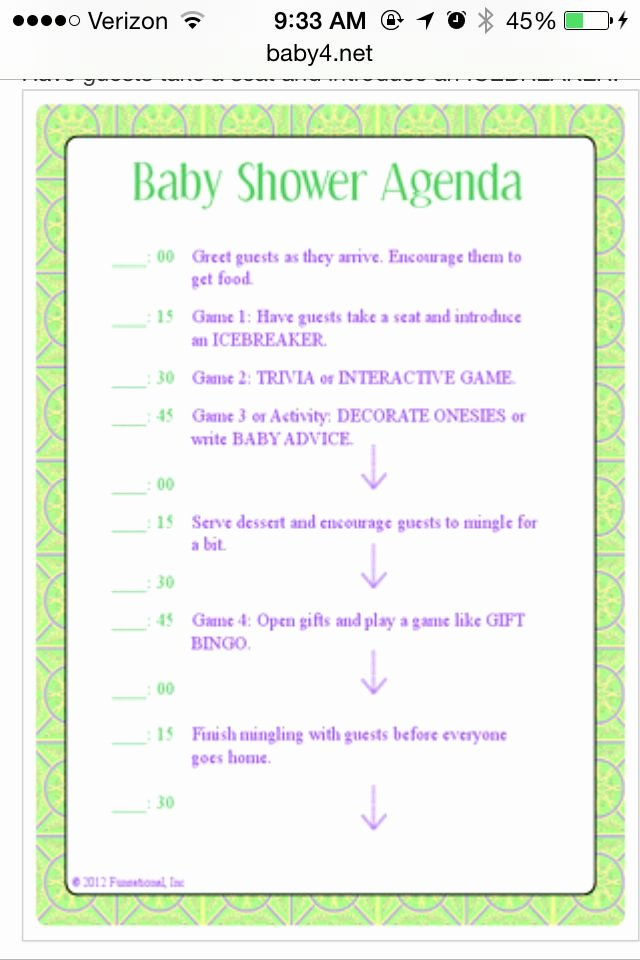 Baby Shower Program Sample Best Of Baby Shower Itinerary Baby