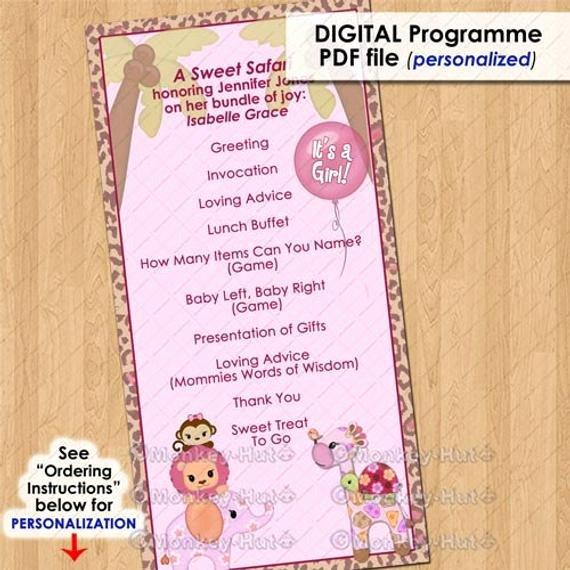 Baby Shower Program Template Best Of Sweet Safari Party event Programme Program Girls Baby
