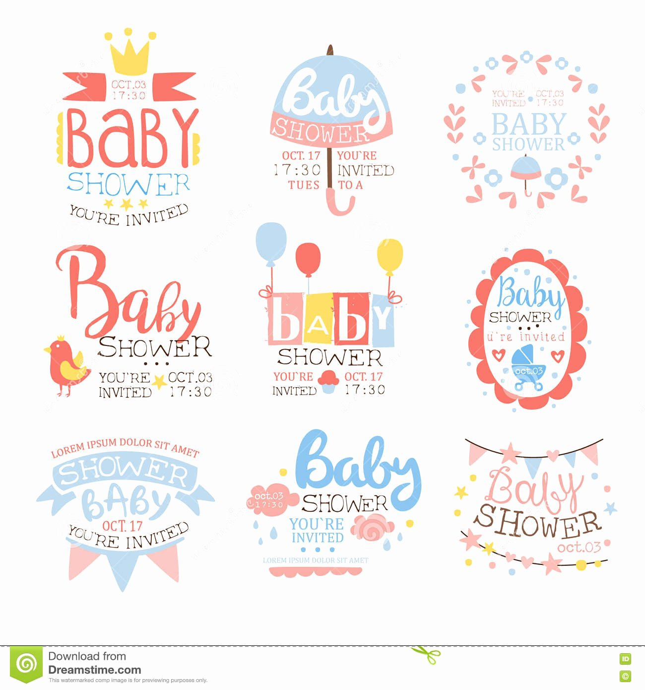 Baby Shower Program Template Luxury Baby Shower Invitation Template In Pastel Colors Set