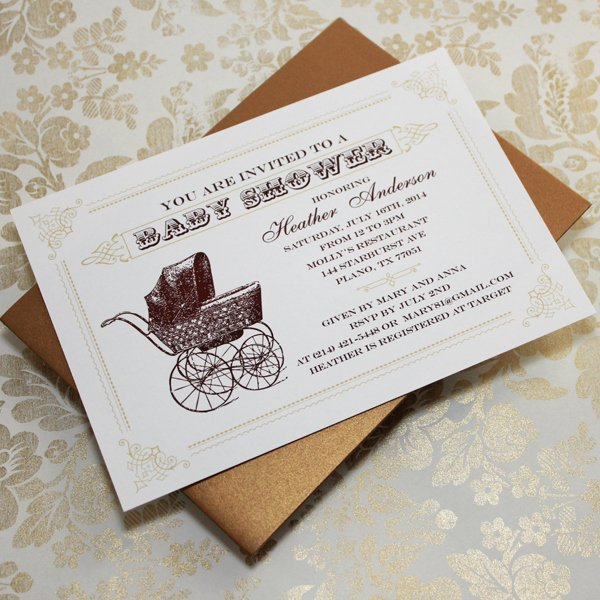 Baby Shower Program Template Luxury Vintage Buggy Baby Shower Invitation Template – Download