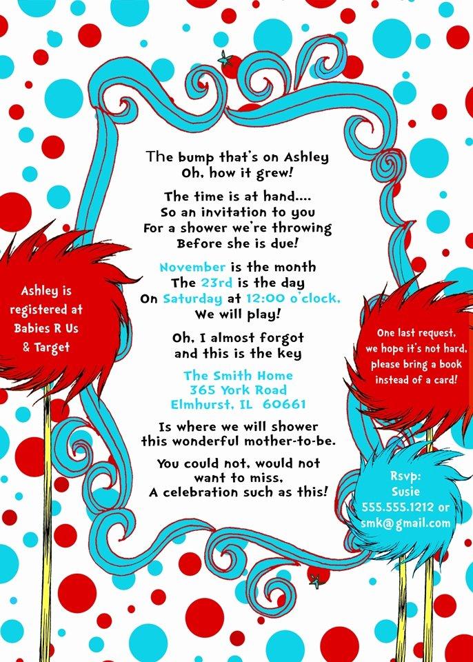 Baby Shower Programs Template Fresh Doctor Seuss Baby Shower Invitations