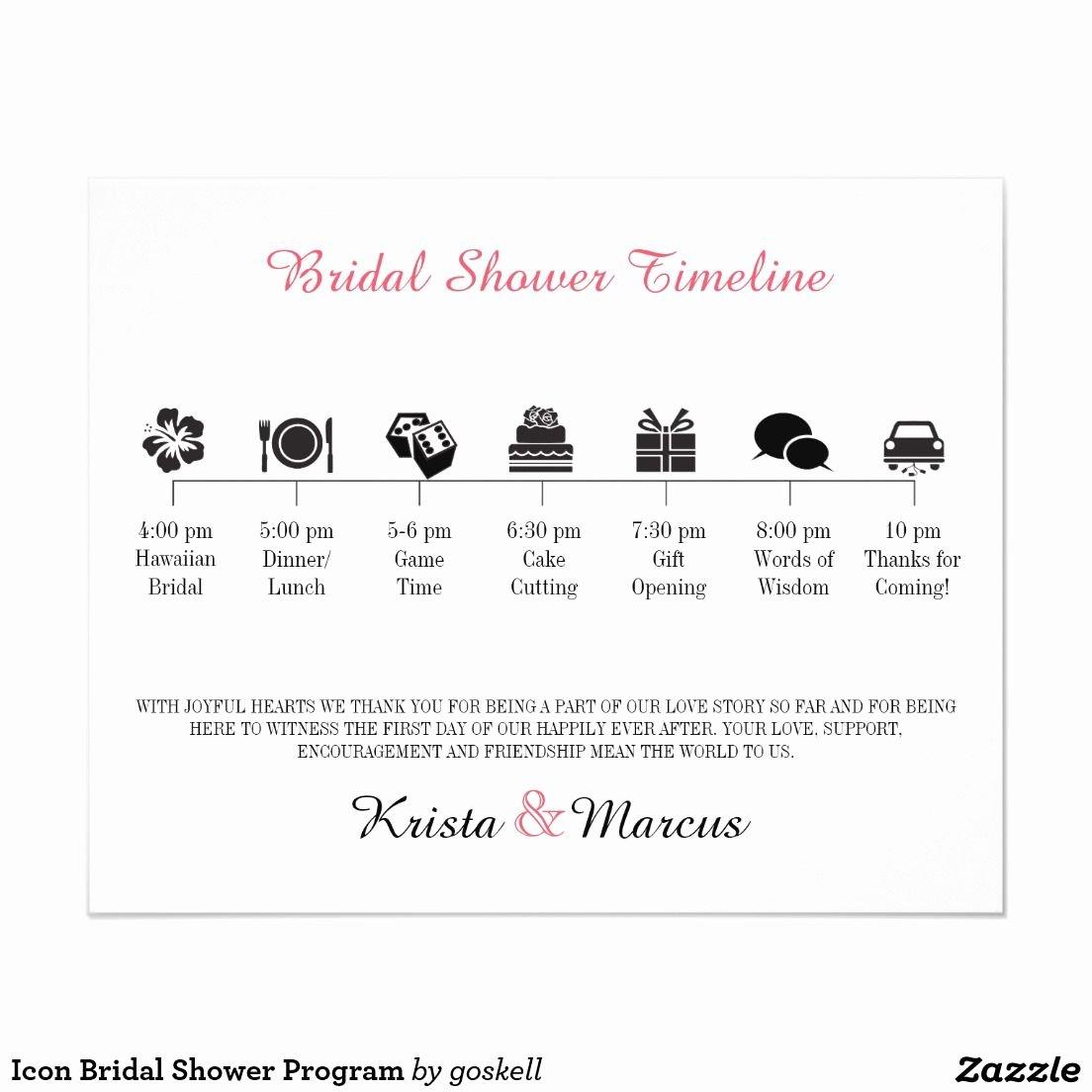 Baby Shower Programs Template Lovely Icon Bridal Shower Program Zazzle