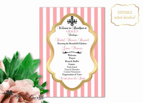 Baby Shower Programs Template New Blush Bridal Shower Program Template Shower Brunch Invitation