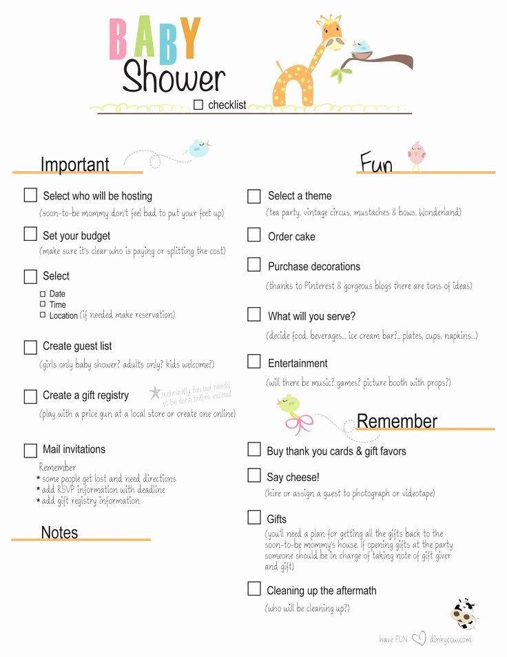 Baby Shower Shopping List Awesome Free Printable Baby Shower Checklist