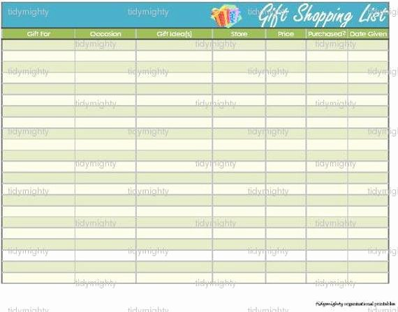 Baby Shower Shopping List Best Of Gift Shopping List organizer Printable Pdf by Tidymighty