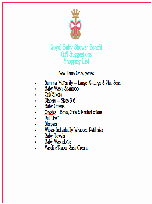 Baby Shower Shopping List Elegant Royal Baby Shower Benefit Shopping List – the Gracious Posse