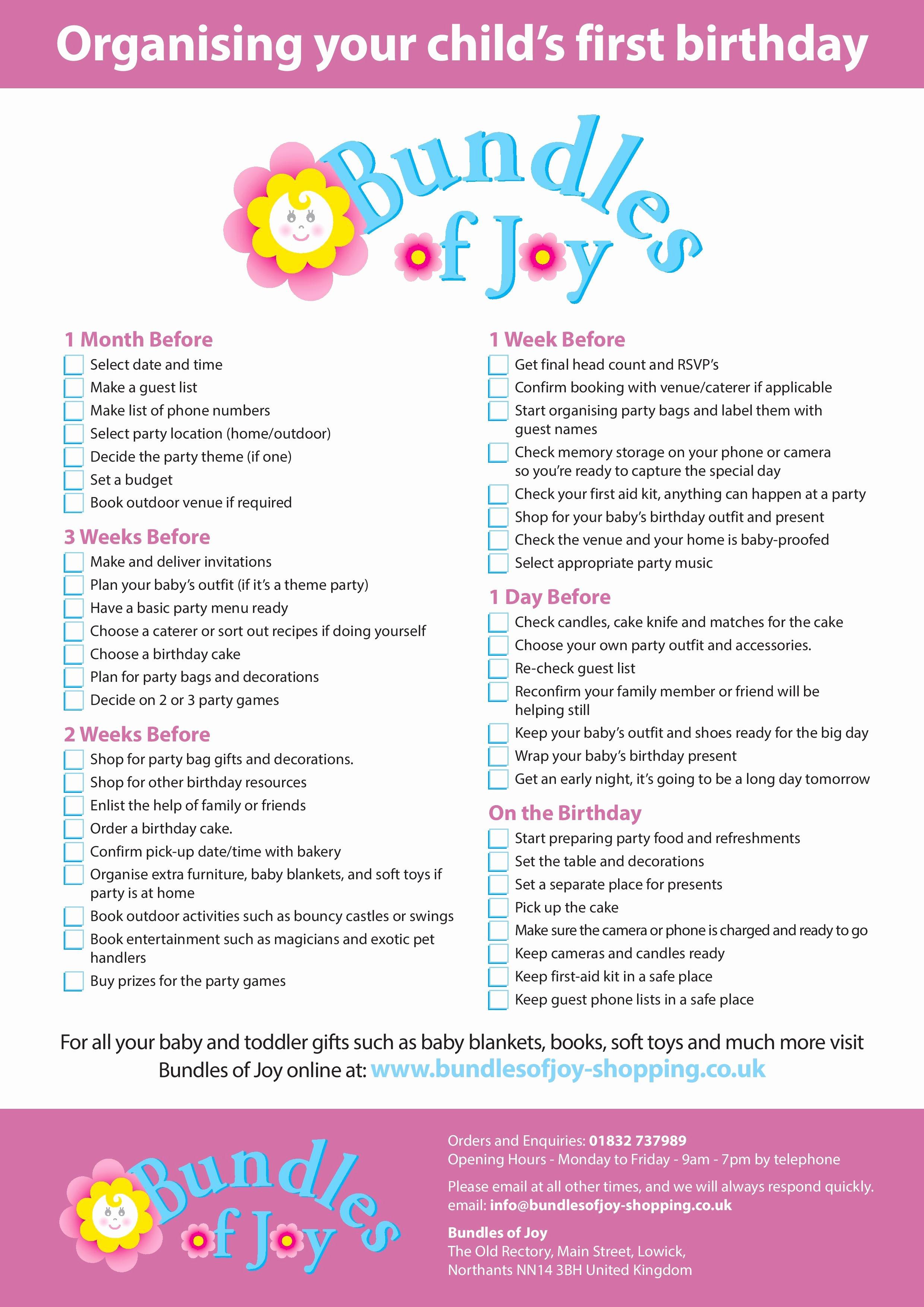 Baby Shower Shopping List Inspirational 1st Birthday Checklist Bundles Of Joy