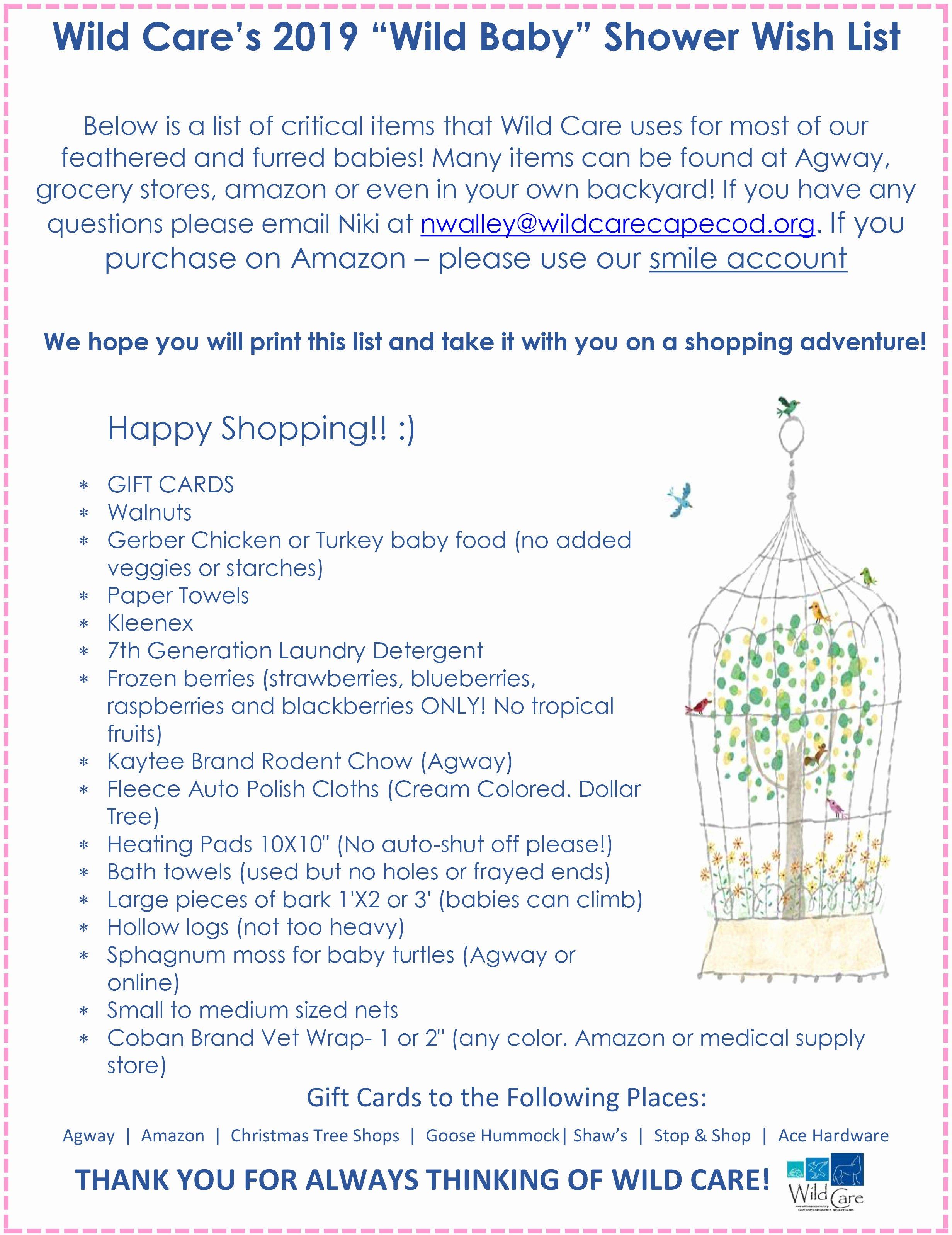 "Baby Shower Shopping List New Wild Care's ""wild Baby"" Shower"