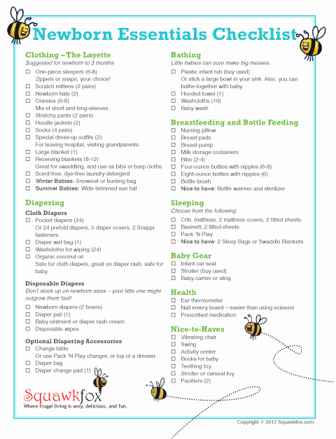 Baby Shower Shopping List Unique Newborn Checklist for Travelling Reading Craze