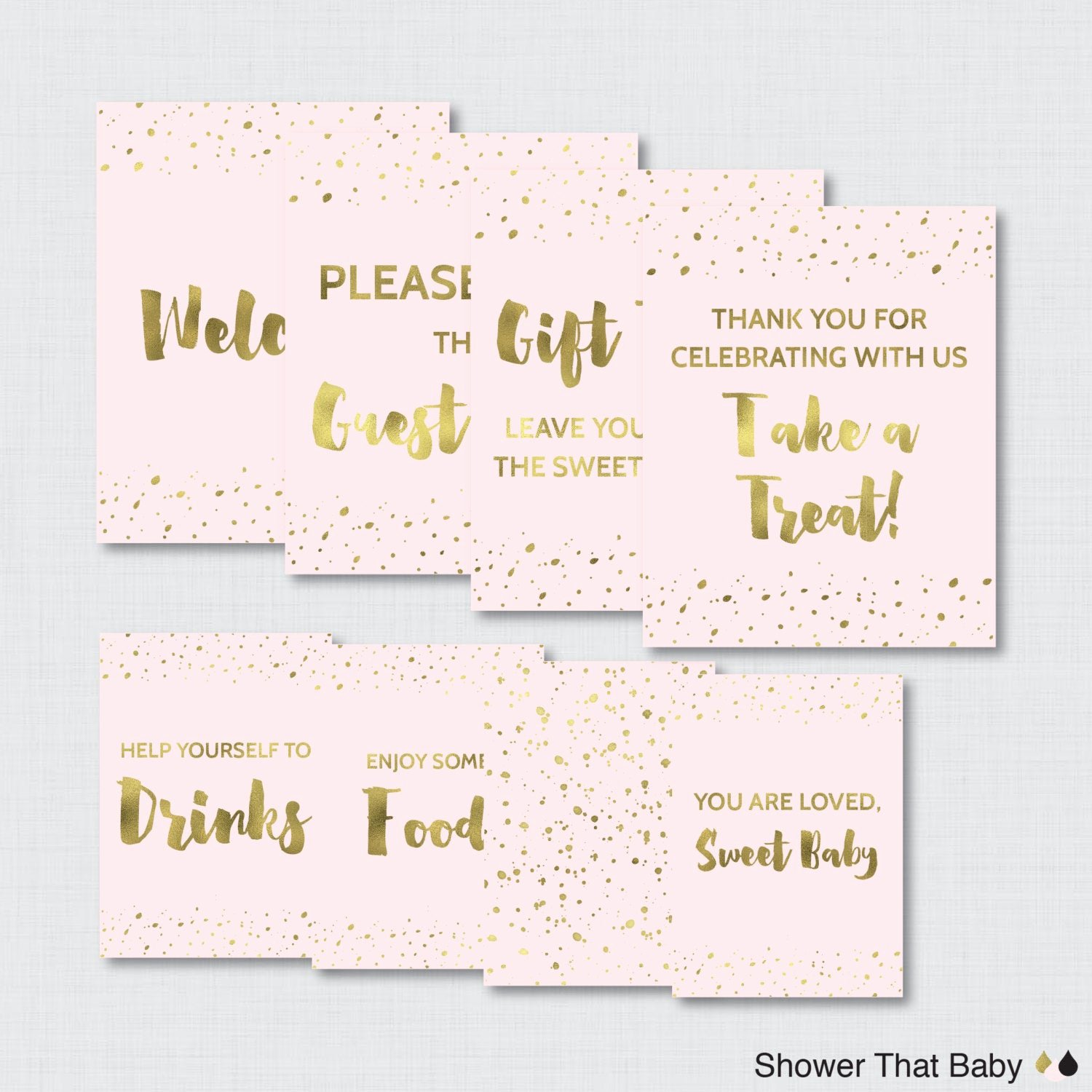Baby Shower Signs Printable Awesome Printable Pink and Gold Baby Shower Table Signs Eight Signs