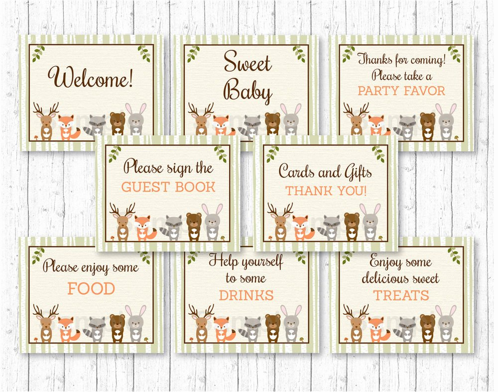 Baby Shower Signs Printable Best Of Woodland Animals Baby Shower Table Signs 8 Printable