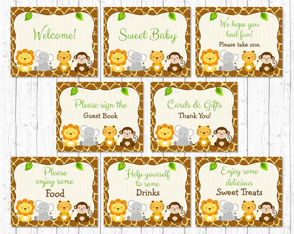 Baby Shower Signs Printable Fresh Cute Jungle Safari Animals Baby Shower Table Signs 8
