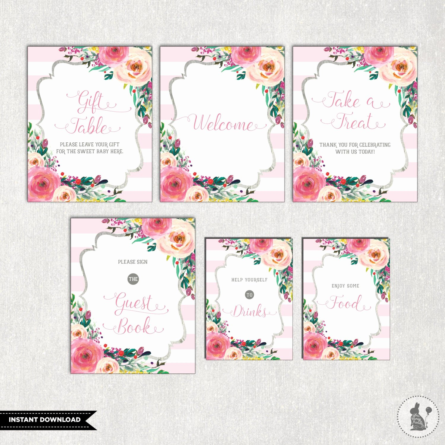Baby Shower Signs Printable Inspirational Printable Floral Baby Shower Table Signs 6 Signs Gift