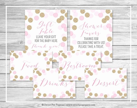 Baby Shower Signs Printable Lovely Pink and Gold Baby Shower Table Signs Printable Baby Shower