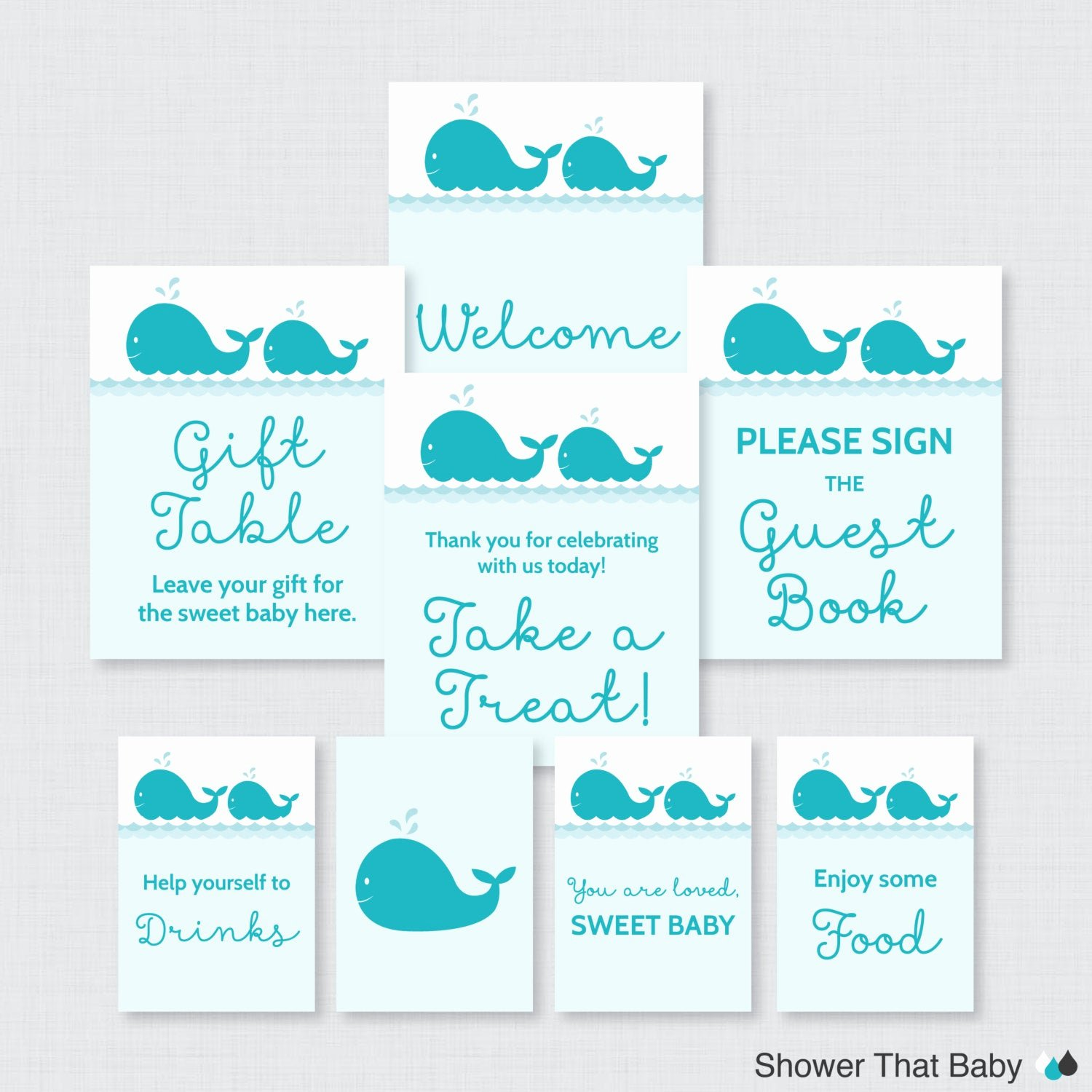 printable whale baby shower table signs