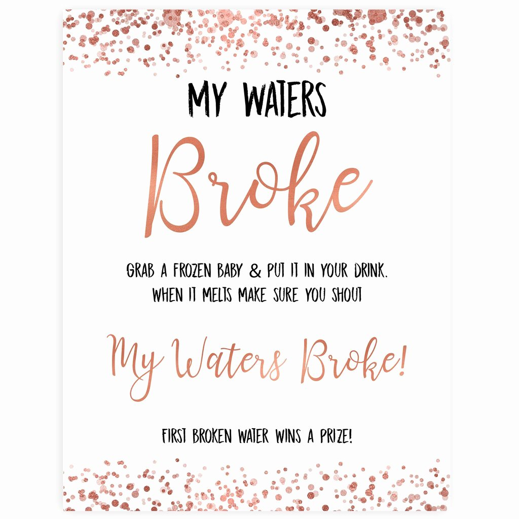 Baby Shower Signs Printable Luxury My Waters Broke Baby Shower Game Rose Gold Printable