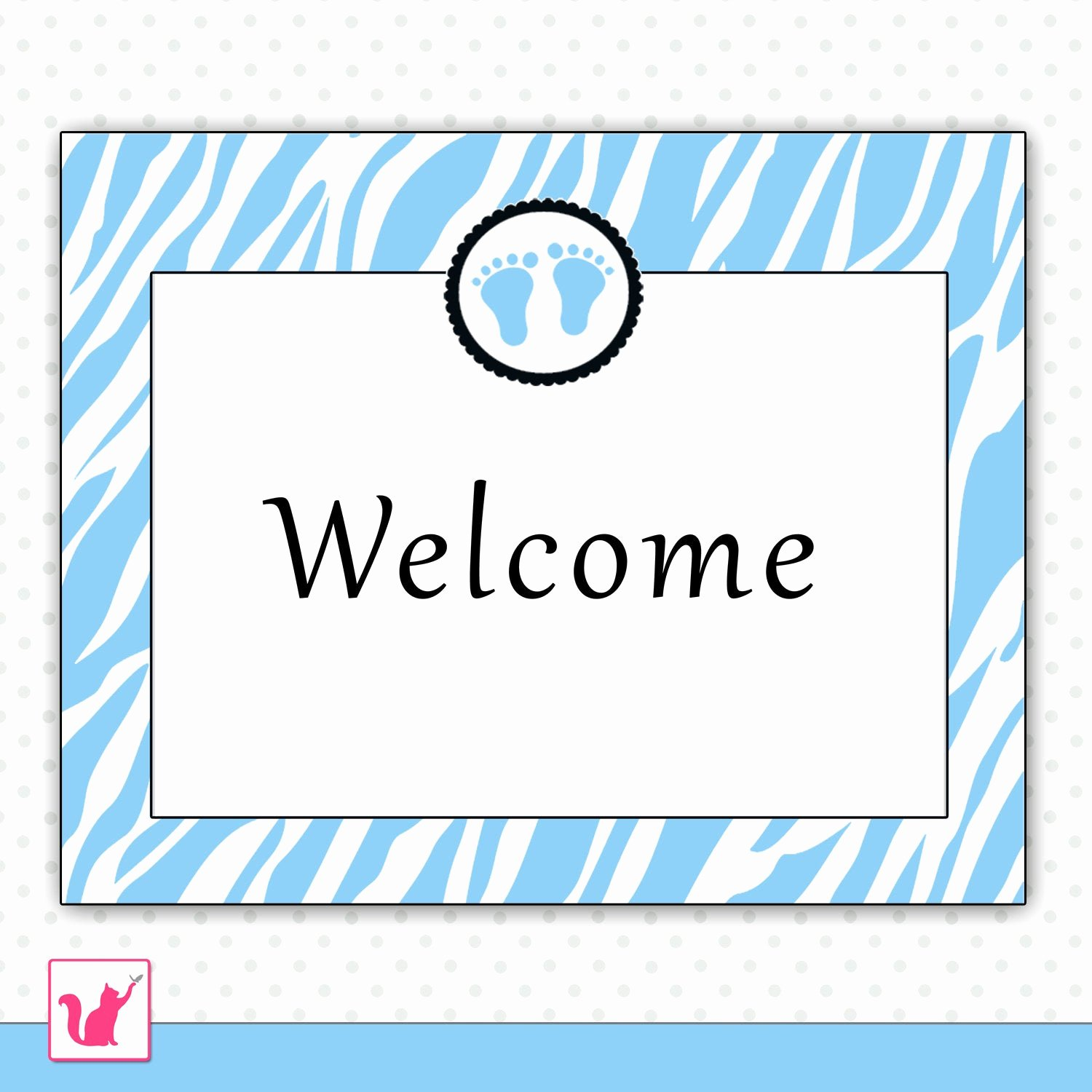 Baby Shower Signs Printable Luxury Shower Wel E Sign Blue Zebra Baby Feet Boy Printable Party