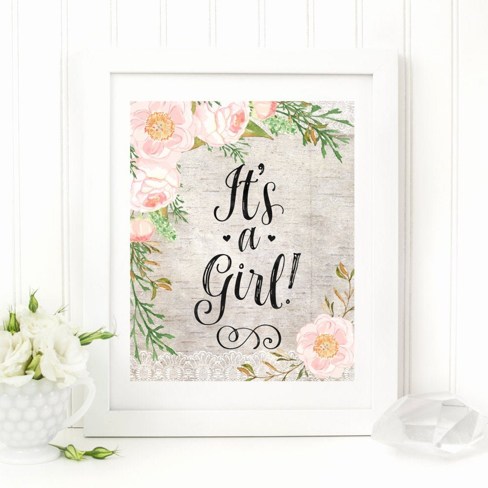 Baby Shower Signs Printable New Its A Girl Printable Baby Shower Table Sign Rustic Floral