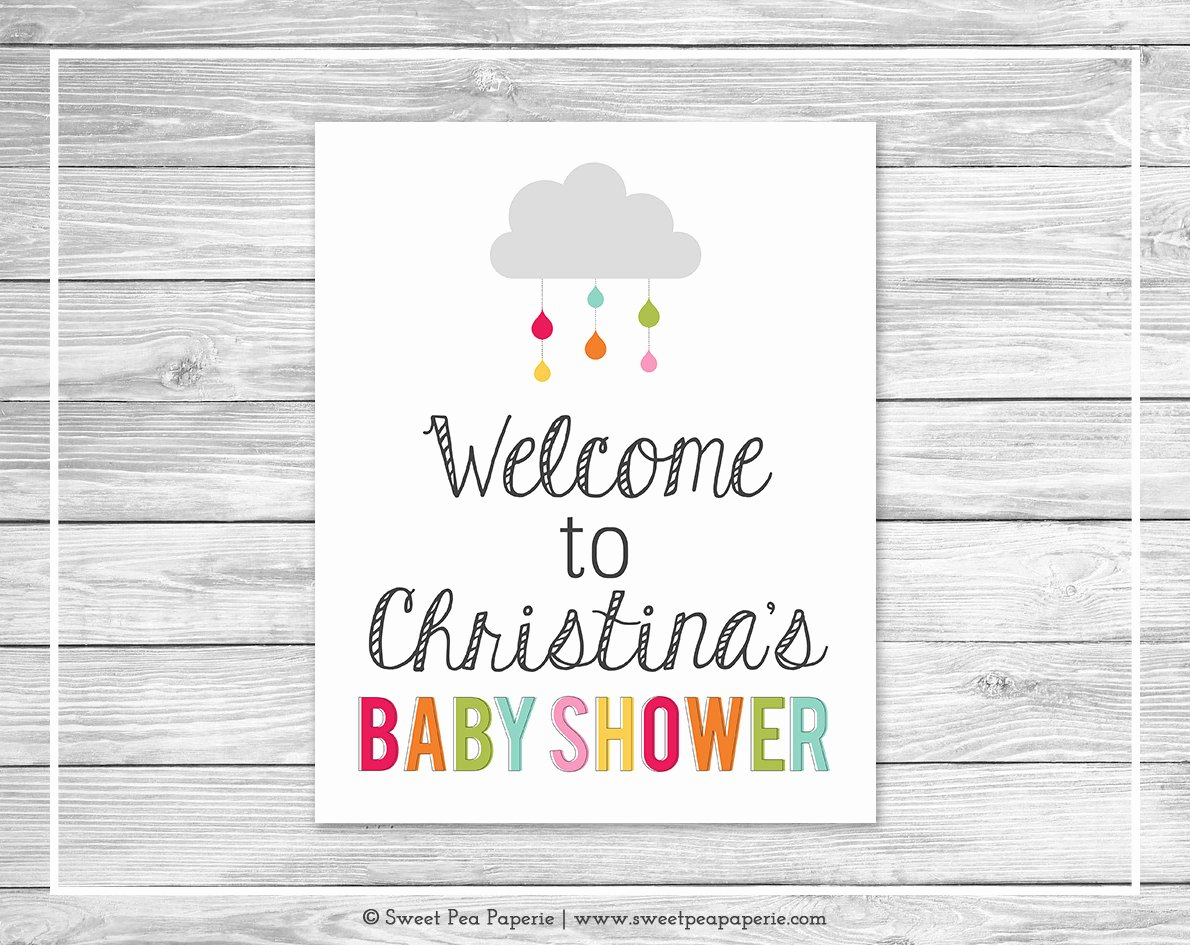 Baby Shower Signs Printable Unique Rainbow Showers Baby Shower Wel E Sign Printable Baby
