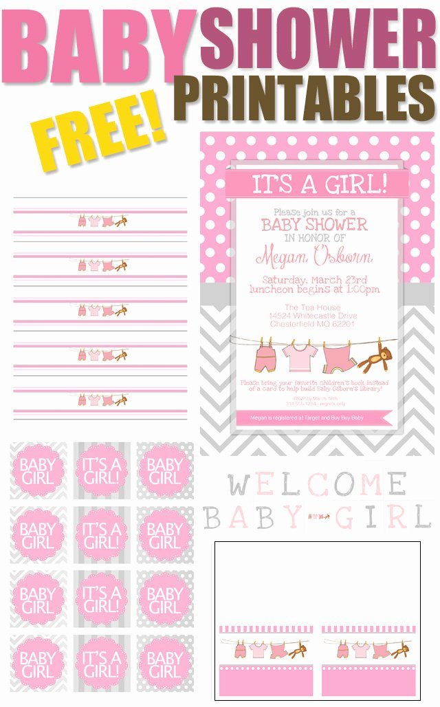 Baby Shower Tags Printable Beautiful Baby Girl Shower Free Printables How to Nest for Less™