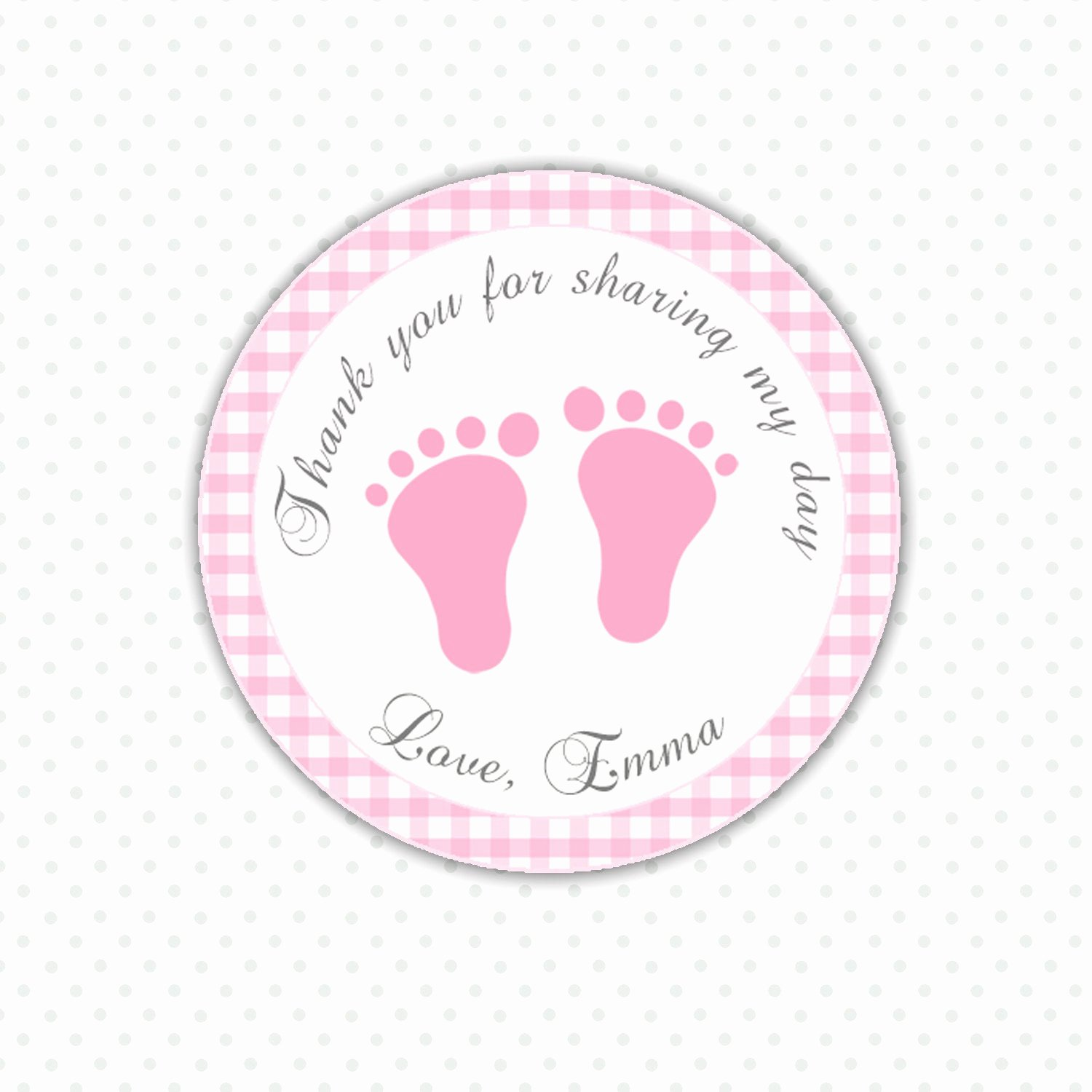 Baby Shower Tags Printable Fresh Pink Gingham Thank You Tags Baby Feet Custom Baby Shower