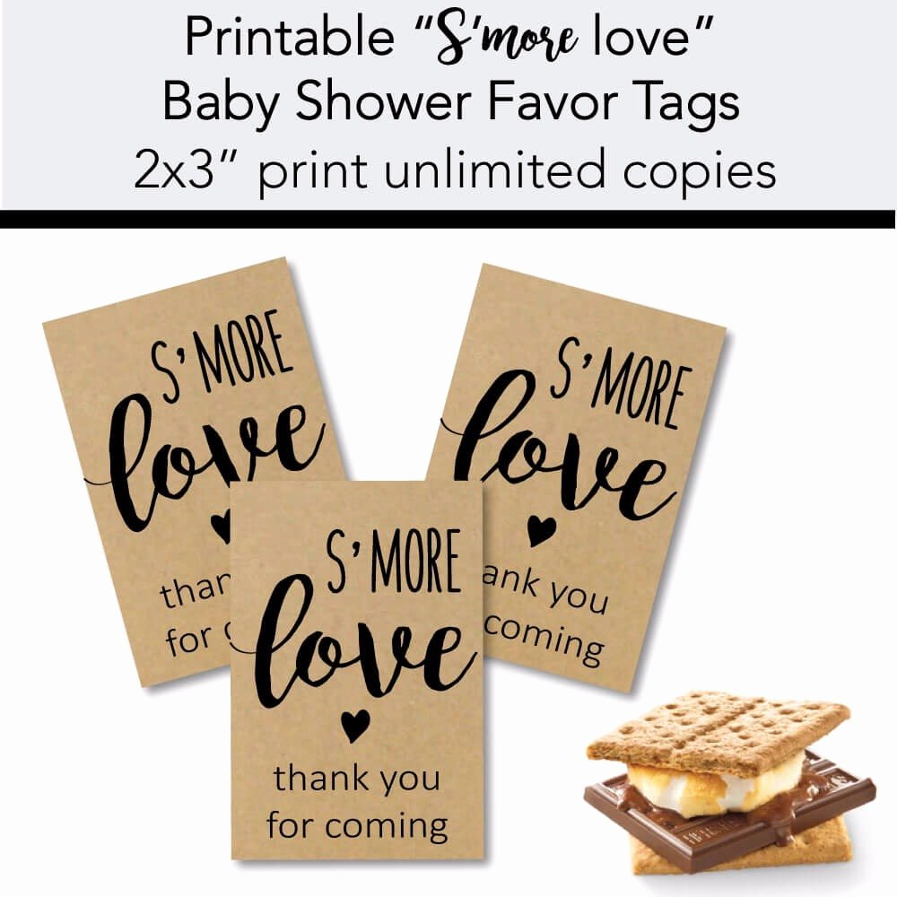 Baby Shower Tags Printable Lovely Printable Kraft S More Love Baby Shower Favor Tags Print
