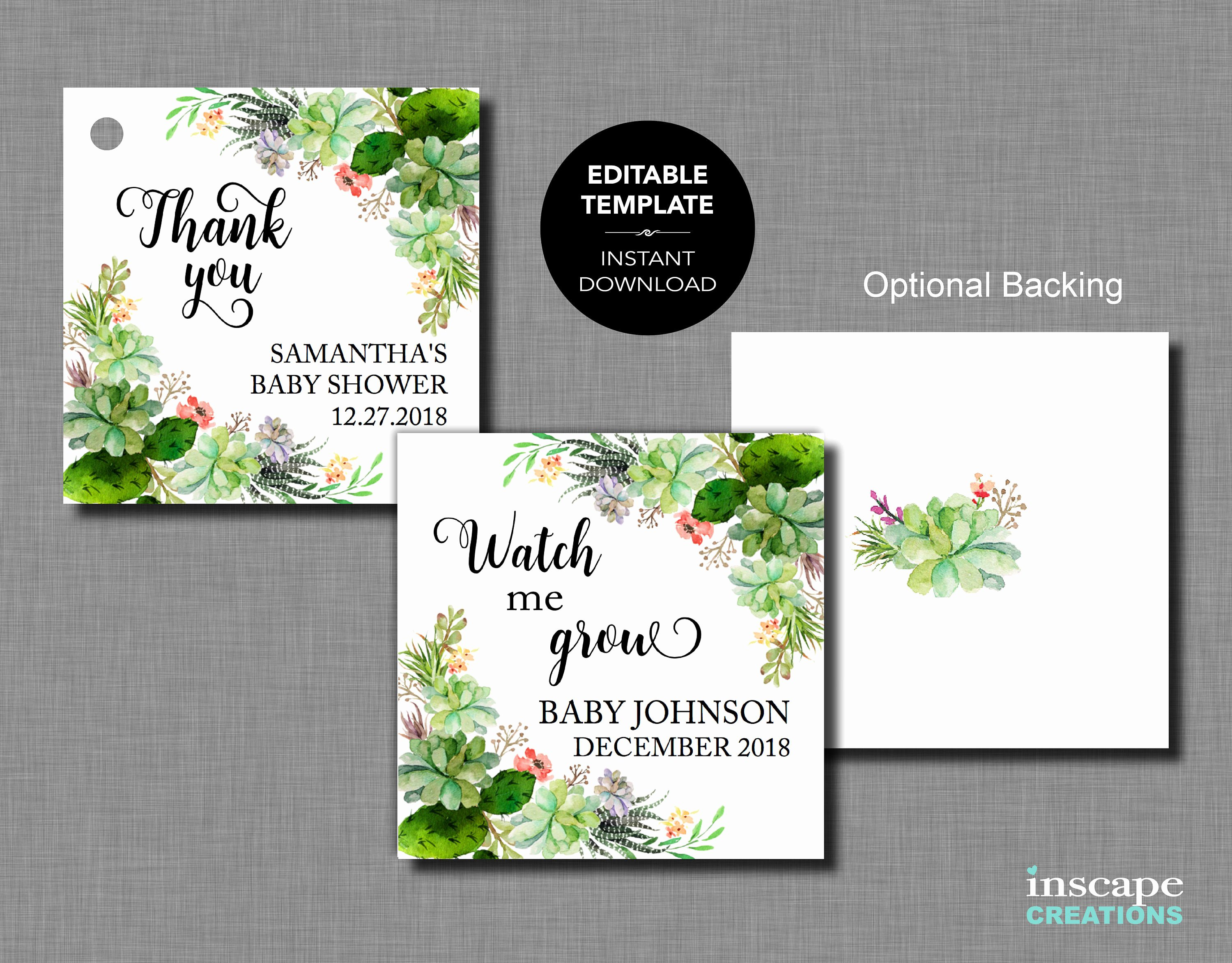 Baby Shower Tags Template Beautiful Succulents Editable Baby Shower Favor Tags Template Watch Me